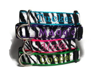 Personalized Zebra Dog Collar