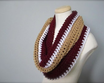 Crochet Maroon, White, and Gold NHL, Hockey, Football, Soccer, Olympic Sports Team Colors Infinity Scarf, Men's Scarf, Unisex Scarf