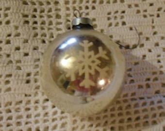 Vintage Christmas Glass Ornament - White Snowflake on Silver, Christmas Ornament, Christmas Decor, Snowflake Ornament