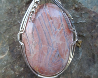 Large Paisley Agate Pendant, Wire Wrapped Pendant, Sterling Silver, Handmade, Stone Pendant, Jewelry, Necklace