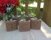 Custom for Jade- Laser Engraved Name - Brown Leather Flask  -  6oz Flask - Christmas Gift - Wedding Gift