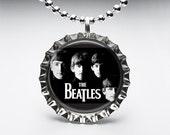 Bottle Cap, Necklace, Pendant, Handmade, Jewelry, Altered Art, Beatles