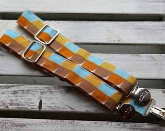 Mod Suspenders  (Yellow, Turquoise, Orange and Brown)