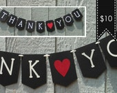 Thank You Banner / Photo Prop / Wedding Banner / Black White Red / Customizable