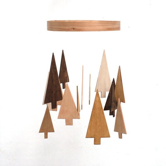 RESERVED - Wooden Tree Mobile - Pine Tree Mobile - Wood Mobile