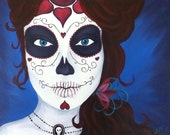 Custom Sugar Skull, Day of the Dead, Dia de los Muertos Painting