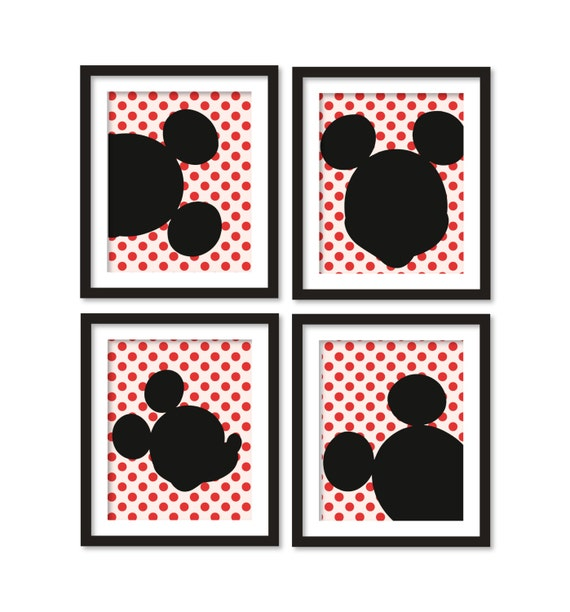 Commickey Mouse Kids Room : Kids artworks- room decor- mickey mouse silhouette- red polka dots ...