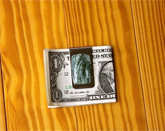 FREE SHIPPING , Stainless Steel Money Clip , One Of A Kind , Custom Made , 37 ct Green Seraphinite Gemstone