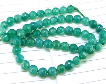 "Superb Round Faceted Full Strand Green Agate Beads ----- 6mm ----- about 62Pieces - gemstone beads 15"" in length for your handwork jewelry"