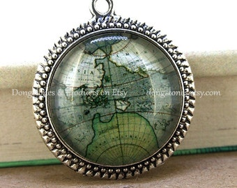 Circle Green Old Map Antique Bronze Silver Round Pendant Base Victorian Beads Tray Cabochon  1inch Pendant Kits Photo Clear Glass Ornament