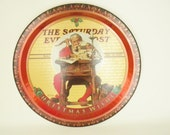 Vintage, Saturday Evening Post, Christmas Wishes, Round Metal Tray, Norman Rockwell Santa