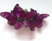 Monarch glen feather butterfly hair comb hairpiece bridal weddings boho purple