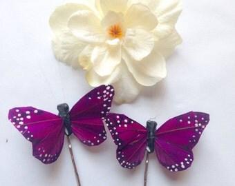 Purple monarch glen butterfly and white delphinium blossom hair clip set