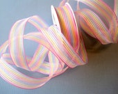 """Color Stripe Wired Ribbon, Pastels Multicolor, 7/8"""" inch wide, 1 yard, For Home Decor, Gift Baskets, Victorian & Romantic Crafts"""