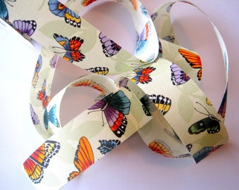 "Butterfly Fun Cotton Ribbon Trim, Multicolor, 1 3/8"" inch wide, 1 yard For Home Decor, Gifts, Accessories, Scrapbook, Mixed Media"