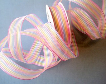 "Color Stripe Wired Ribbon, Pastels Multicolor, 7/8"" inch wide, 1 yard, For Home Decor, Gift Baskets, Victorian & Romantic Crafts"
