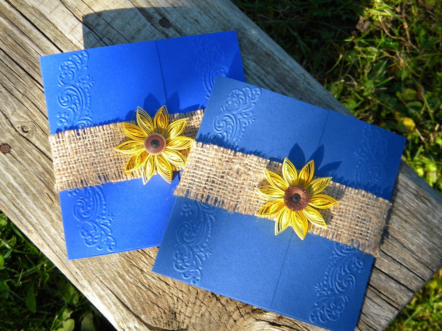 Cheap Sunflower Wedding Invitations: Cobalt Blue And Sunflower Wedding Invitation / Burlap Wedding
