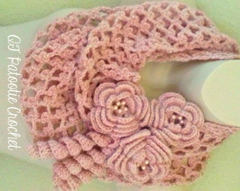 Blushing Flowers Infinity Scarf - pattern