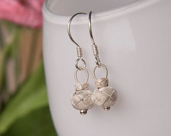 Fine Silver Knotted Tiny Ball Dangle Earrings Authentic Nautical Bridal Vintage Wedding Jewery Gift For Her Kazaziye Earrings