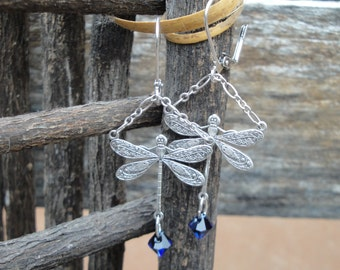 Dramatic Silver Plated Dragonfly Earrings