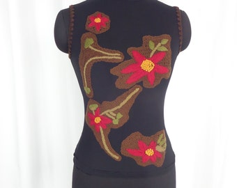90s vintage crewel work embroidered mesh sleeveless turtle-neck/ black with autumn colored wool: size US small-med