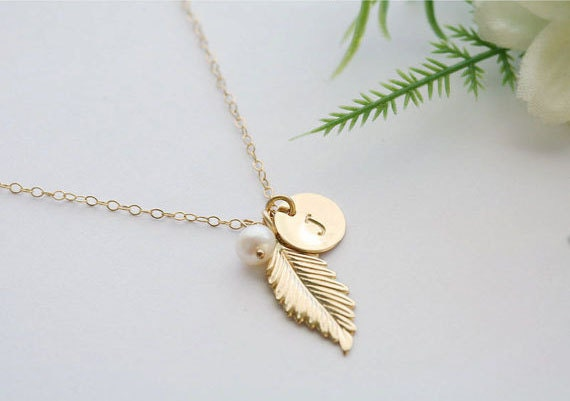 Gold Feather Necklace,Initial necklace,custom birthstone,custom font monogram,Fall Wedding gift,Bridesmaid gift,Birthday,Everyday jewelry