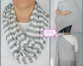 Ships NOW Hold Me Close Nursing Scarf Gray and White Small Stripes, Nursing Cover, Infinity Nursing Scarf