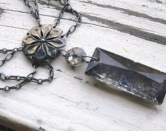 The Merry Widow necklace- Victorian gothic. dark chandelier crystal. pewter flower pendant. spider web chain necklace. Jettabugjewelry