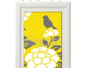 Yellow Bird Vintage Modern Inspired Art Print  - Yellow Grey White 8x10 Print (Unframed)