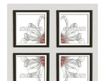 Red Khaki Floral Vintage / Modern inspired Ikat Art Prints Collection  -Set of (4) - 10x10 Prints -   (UNFRAMED)