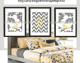 Personalized Digital illustration Wall Art Bird Prints  Art  -Set of (3) - 8 x 10 Prints - Yellow Grey (UNFRAMED)