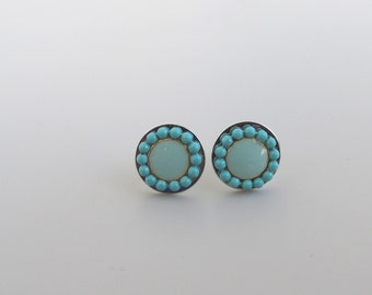 Turquoise Stud earrings, turquoise post earrings.  Silver sterling disk-Color of fashion   2014.silver sterling posts.