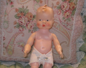 Vintage Baby Doll, Baby Doll, Plastic Baby Doll, Vintage Doll, Small Size Baby Doll with Diaper On, Toys, Vintage Toys, ..:)S