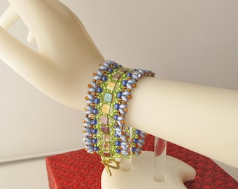 Honeycomb Bracelet in Blue, Green, and Gold, with Leaf-Shaped Toggle Clasp