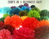 7 Tissue Paper Pom Poms-- Pick Your Colors-- Wedding/ nursery/ birthday/ shower decorations