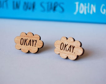 Okay. Okay. TFiOS Inspired Wooden Earpost Earrings.