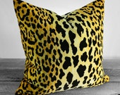 Pillow Cover - Leopard Print Cotton Velvet - Same Fabric BOTH Sides- Pick Your Size