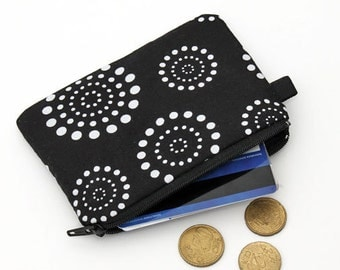 Coin purse, padded zip pouch, womens small zip wallet, iPod nano case - black and white dot circles