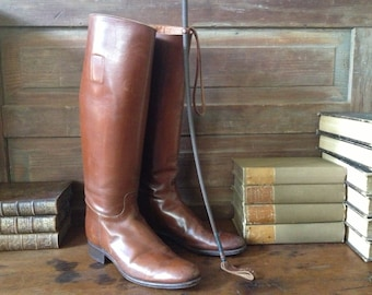 Antique England // Early 1900s Chestnut Brown Leather  Equestrian Riding Boots ~ 7.5 Mens US