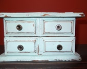 jewelry chest, armoire,  shabby chic seafoam green and distressed