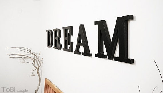 Dream Wood Wall Decor : Dream wooden letters bedroom decor home wall