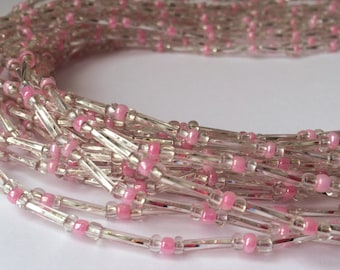 Clear White Cylindar Shaped Beads with Pink Handmade African Waist Bead
