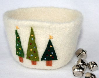 winter holiday lighted christmas tree trio bowl - ivory white wool felted