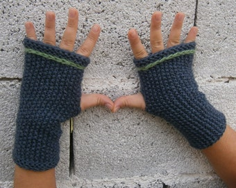 Knit Fingerless Gloves Mittens Arm Warmers Gree and Green