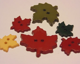 6 piece leaf button mix, 18-30 mm, (20)