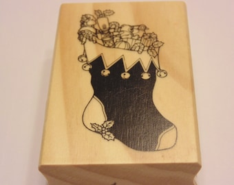 LARGE Christmas Stocking  rubber stamp, 65 mm (HR1)