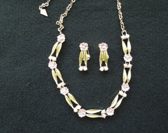 Vintage Necklace and Earrings Set.  Clip On Earrings.  Gold Tone with Pearls, Rhinestones.  Pretty Colors