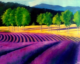 Original Abstract Oil Painting - Lavender Fields in Provence  - Colorful - Landscape Summer Spring - Made To Order