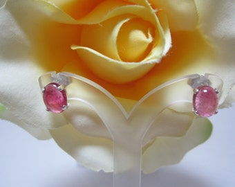 Mozambique Pink Tourmaline Cabochon Earrings