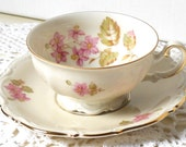 RESERVED  for DIANA vintage teacup and saucer german porcelain porcelain cups and saucers vintage pink flowers teacup 119